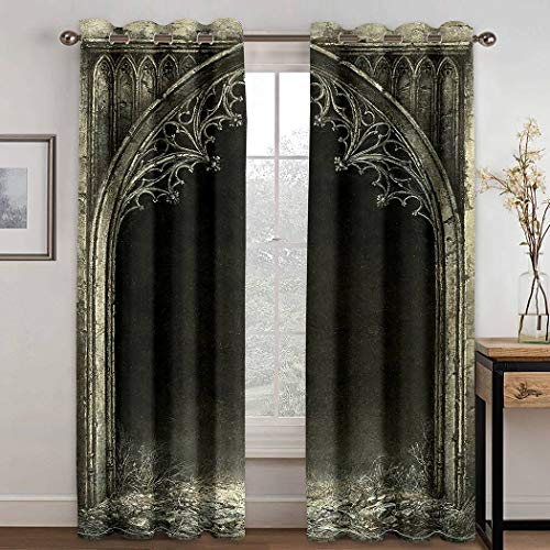 THE MINI CRUSH American Curtains,Gothic Fantasy Medieval Frame Arch Doorway Ornament Old Vintage,Soundproof Blackout Curtains for Bedroom Living Room Window Drapes 2 Panel Set,108X80 Inches