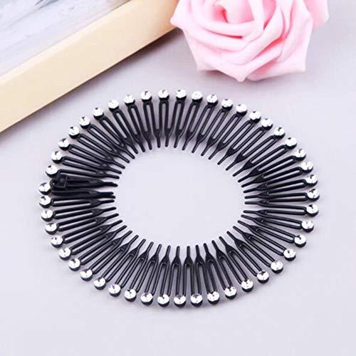 1 diadema de plástico con forma de círculo, con diseño de diamante, flexible, para la cabeza o para la cabeza