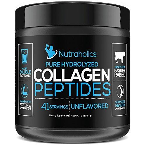 Collagen Peptides Hydrolyzed Protein Powder | Grass Fed Pasture Raised | Certified Paleo & Keto Friendly | 11 Grams per Serving | 16 OZ. Bottle | Unflavored Collagen Powder