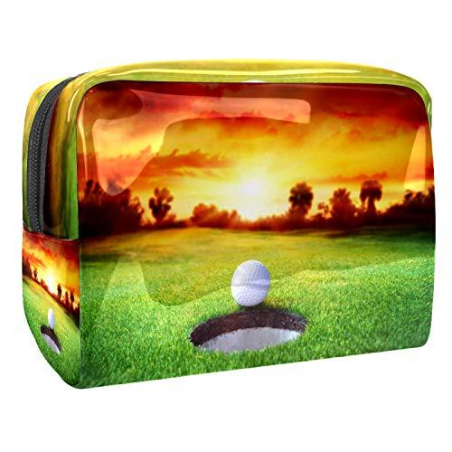 Bolsas de Maquillaje Estuche multifunción para Organizador de Bolsas de cosméticos de Viaje portátil Concepto de Objetivo Puesta de Sol Deporte de Golf con Neceser con Cremallera para Mujer