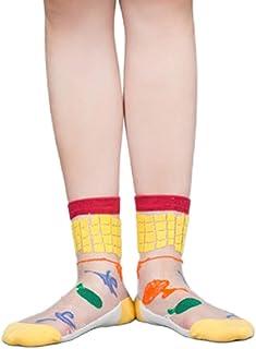 catyrre, Las mujeres Sheer Crystal Fiber Crew Calcetines de dibujos animados de frutas coloridas Harajuku medias