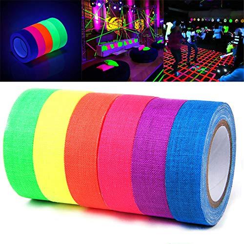 Fluoreszierendes Neon Klebeband 6 Rollen, UV Schwarzlicht Klebebänder, Gaffer Tape Neon für Parteien Kunst Handwerk Dekorationen - 15mmx 5m
