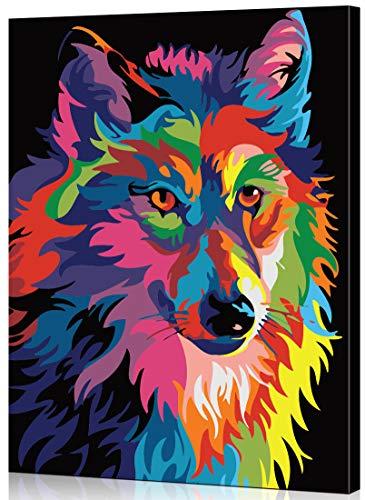 WISKALON con Marco de Madera Pintar por Numeros DIY Pintura Acrílica por Numeros para Adultos 16 * 20 Pulgadas Lobo Colorido con 3 Pinceles y Colores Brillantes