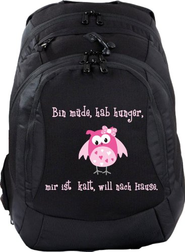 Mein Zwergenland Schulrucksack Teen Compact, 26 L, Schwarz, Bin müde, hab Hunger