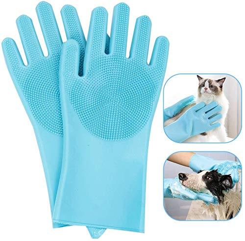ASCbro Dog Bath Glove Brush Multipurpose Dog Glove Shedding Message Pet Glove Grooming Brush Cat Dog (Blue)