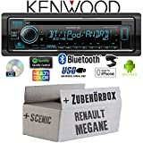 Renault Megane & Scenic 2 - Autoradio Radio Kenwood KDC-BT530U - Bluetooth | Spotify | iPhone | Android | CD/MP3/USB - Einbauzubehör - Einbauset