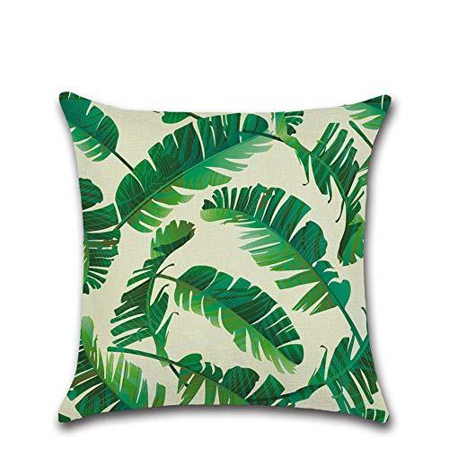 Suneast - Funda de cojín con diseño de hojas verdes tropicales, 45 x 45 cm, Estilo 37, 45*45cm