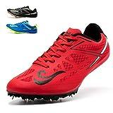 SMXX Chaussures d?athlétisme, Chaussures pour Hommes et Femmes, Chaussures d?entraînement légères et antidérapantes (45 EU, Rouge-19)