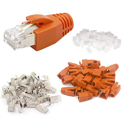 VCE (1. Gen.), 20 Sets Cat7 Netzwerkstecker RJ45 Stecker Cat6A Crimpstecker LAN Stecker für Cat7 Verlegekabel Metall geschirmt mit Einfädelhilfe und Knickschutz