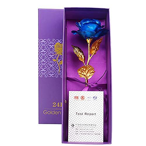 Cinsey 24K Gold getaucht echte Rose in exquisiter Geschenkbox, bestes Romantisches Geschenk zum Jubiläum, Dankeschenktag, Valentinstag, Muttertag, Geburtstagsgeschenk