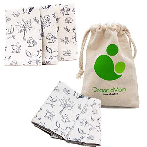 OrganicMom® 3 handgenähte Kinder-Taschentücher aus Bio-Baumwolle inkl. Stoffbeutel/Waschbare Bio-Stofftaschentücher/Stoff-Taschentuch/GOTS/Made in Austria (Hellgrau (Tiermuster))