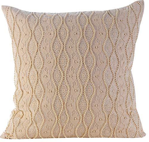 The HomeCentric Housses de coussin décoratives 65 x 65 cm blanc, Soie Jetez les couvertures de coussin, couvertures faites main de coussin -Tuscany