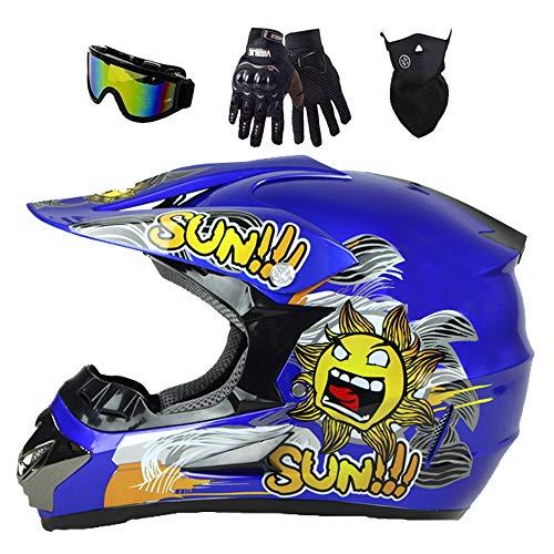 Casco de motocross para niños, casco de motocross, con guantes/máscara/gafas, juego de 4 piezas, carcasa de ABS, norma de seguridad DOT (azul, XL)