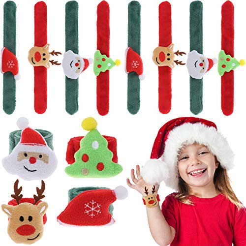 LOCOLO 8Pcs Christmas Slap Bracelets - Fun Slap Wrist Bands Christmas Holiday Party Favors Supplies, Santa Claus Tree Reindeer Hat Wristband, One Size Fits All for Kids and Adults