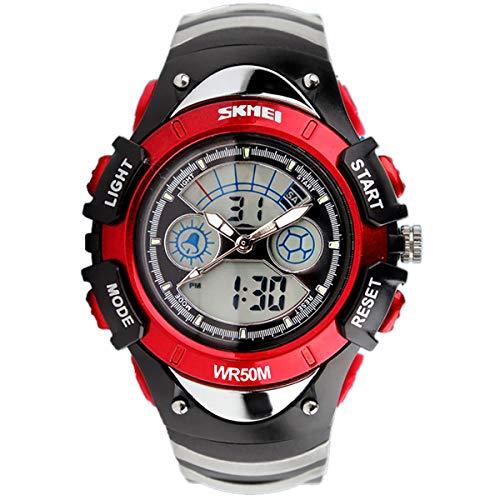SKMEI Girls Boys Red Digital Watch 30m Water Resistant Dual Display...