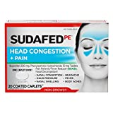 Sudafed PE Head Congestion + Pain Relief Caplets Ibuprofen Phenylephrine HCl, 20 Count