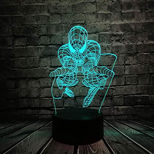 3D Optical Illusion Lamp Hero Superhero Night Light Led Kids Bedside Table Lamp 7&16M Color s Auto Changing Touch Switch Kids Christmas Birthday Gifts [Energy Class A +++]