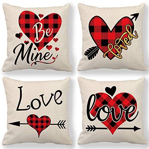 WENTS Cojín de San Valentín 4PCS Funda de Almohada de Amor roja para el Día de San Valentín Boda Boda Decoración romántica para el hogar Amor Lino de algodón (45 x 45 cm)