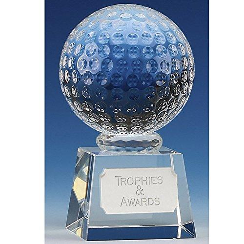 Victory4 Golfball optisches Kristallglas, 12 cm, in Geschenkbox, lasergraviert, mit Gravur bis zu 50 Buchstaben OK009CC