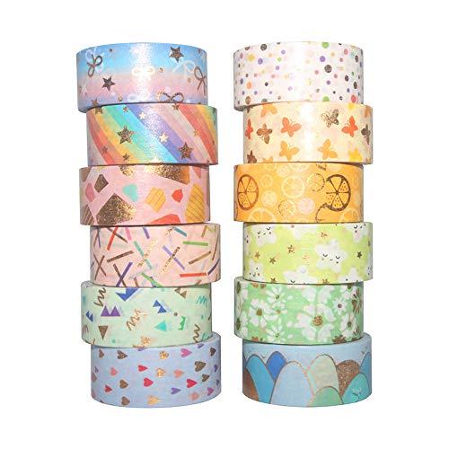 YUBBAEX Washi Tape Set cinta adhesiva decorativa Washi Glitter Adhesivo de Cinta Decorativa para DIY Crafts Scrapbooking (Lámina de oro 15MM de ancho 12 Rollo)