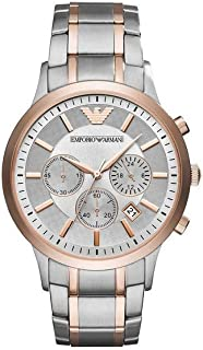 Emporio Armani Men's Grey Dial Stainless Steel Band Watch - AR11077