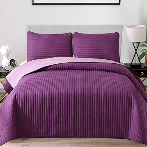 Exclusivo Mezcla Ultrasonic Reversible 3-Piece King Size Quilt Set with Pillow Shams, Lightweight Bedspread/Coverlet/Bed Cover - (Lilac Purple, 92'x104')