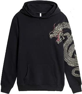 FLYCHEN Men's Fashion Embroidered Cotton Hoodies Unisex Pullover Sweatshirt