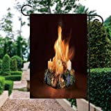ALUONI Garden Flag Vertical Double Sided 12 x 18 Inch Farmhouse Summer Polyester Yard Outdoor Decor - Advent Wreath Caught Fire IS155025