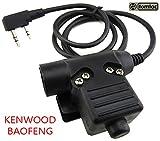 Tomtac Airsoft U94 PTT Black 2 Way Radio Switch SORDINS COMTAC Kenwood 2 Pin