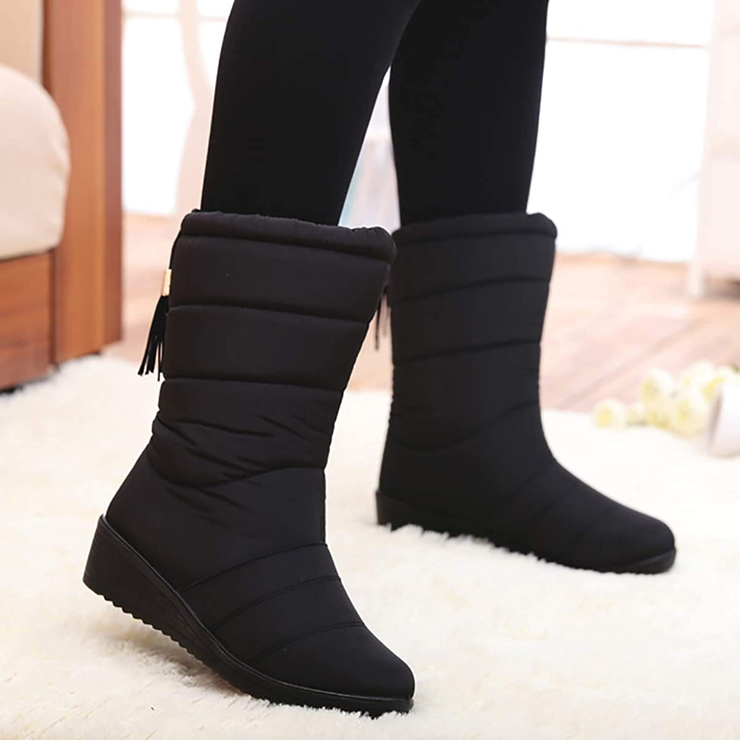Winter Ladies Tassels Plus Velvet Snow Boots, Mid-Tube Wedges with Warm Women's Boots, Waterproof Non-Slip Women's Boots,Black,35