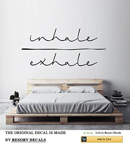 "Inhale Exhale Vinyl Wall Decals - Removable Decor Art Stickers for Bedroom Living Room Kitchen - Large Decal Sticker - Home Yoga Studio Decor for Women Men Girls (w 40"" h 17"")"