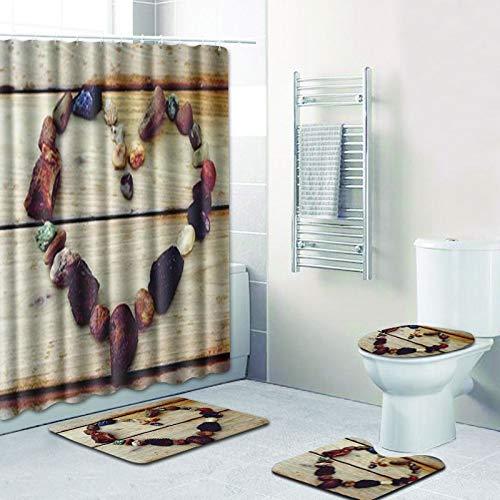 Minyose Liebe Herz Duschvorhang Mit Badematte Set Bad Bodenteppich Anti-Rutsch-Matte Für Toilette Bad Teppich Wc Fußmatte Sockelteppich 180 * 180Cm