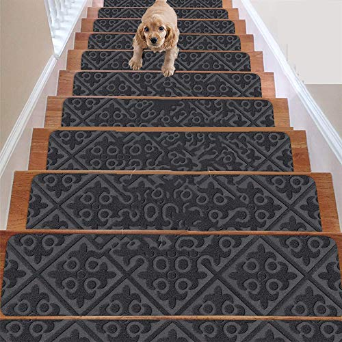 Juego de 7 alfombrillas antideslizantes de goma o alfombra – para interiores y exteriores – alfombrillas antideslizantes para escaleras – Alfombra antideslizante para escaleras (gris) 20,3 x 76,2 cm