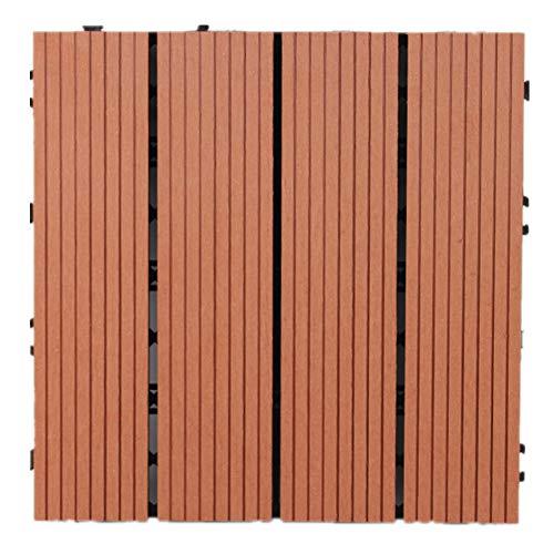 30 cm x 30 cm Holz- Kunststoff-Verbundwerkstoffe, ineinandergreifend, gespleißter Boden, WPC Terrassenfliese für Garten, Terrasse, Balkon, Dachterrasse, Fliesen, rot