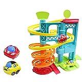 Siyushop Pista Scorrevole a Spirale educativa di Corsa del Giocattolo educativo per Bambini del parcheggio girante con 2 Automobili