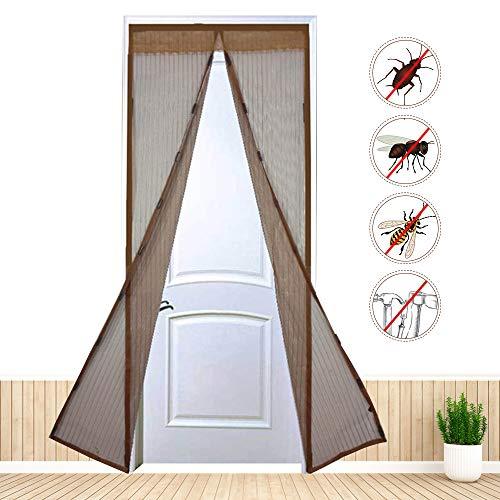Ldawy Puerta mosquitera, Puerta mosquitera magnética mosquitera, Cortina de Malla de Malla con 9 Pares de Hebillas magnéticas Fuertes para Puertas de hasta 90 x 210 cm