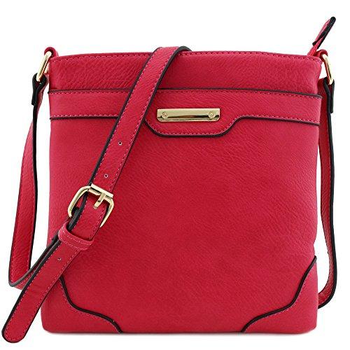 Umhängetasche, mittelgroß, solide, modern, klassisch, vergoldet., Pink (fuchsia), Einheitsgröße
