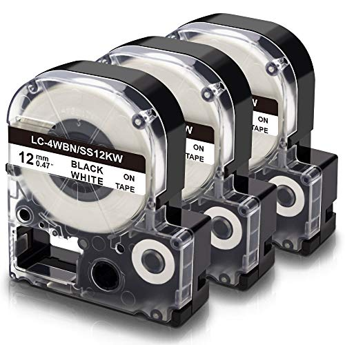 Absonic Compatible Label Tape Replacement for LK-4WBN LC-4WBN SS12KW LC 4WBN9 LK 12mm Tape Cartridge 1/2'' for Epson LabelWorks LW-300 LW-400 LW-500 LW-600P LW-700 Label Maker, Black on White, 3-Pack Photo #4