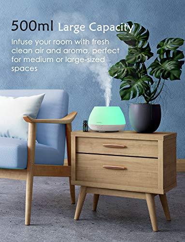Homasy 500ml Diffusore di Oli Essenziali con 6x10ml Set di Oli Essenziali, 23dB Ultrasuoni Diffusore di Aromi Fino a 20 Ore di Lavoro, Diffusore Ambiente Luci Notturne 8 Colori (Bianco)