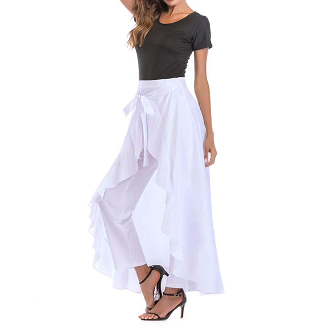 LUXISDE Skirts for Womens Grey Side Zipper Tie Front Overlay Pants Ruffle Skirt Bow Long Skirt