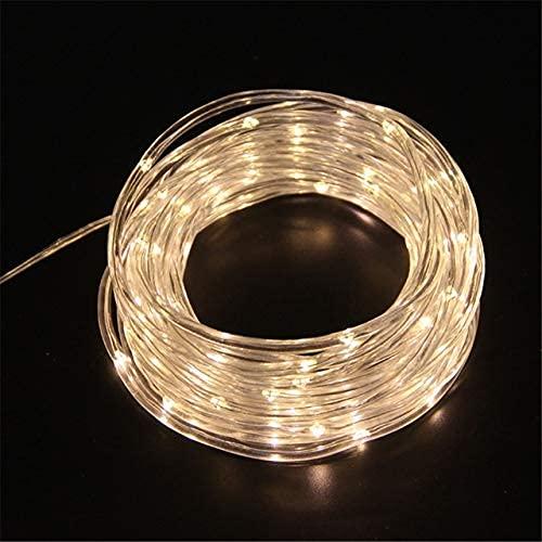 Luz solar LED para exteriores, tubo de jardín, tira de luces de Navidad, para fiestas, bodas, árboles, patios, decoración de solarne (color: blanco, potencia: 12 m, 100 leds) SKYJIE (color: blanco)