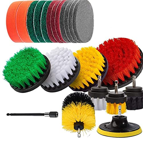 finebrand Drill Brush Attachment Kit Power Scrubber Drill Brushes and Scrub Pads for Cleaning Pool Kitchen Garden Floor 22 PCS