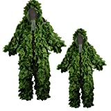 ALLIWEI Leaf Shaped Camouflage Suit, Geely Suit PUBG Sniper Pure Green Suit Field Training Camouflage Clothing Outdoor Adult 3D Leaf Stealth Ghillie Suit Military CS Forest Hunting Suit