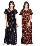 YUKATA aka Title1 Women's Cotton Printed Nighty (YT_1, Multicolour, Free Size)(2pcscombo)