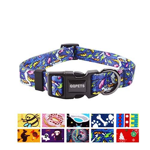 QQPETS Hundehalsband, weich, bequem, verstellbar, für kleine, mittelgroße und große Hunde, Outdoor-Training, Spazierengehen, Laufen (M, blau)