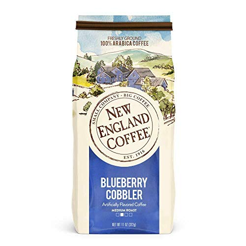 New England Coffee Blueberry Cobbler, Medium Roast Ground Coffee, 11 Ounce/Bag