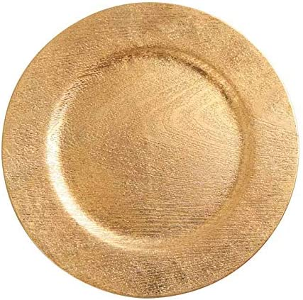 Free shipping New Genuine Gold Woodgrain Round Charger pieces Plate 3