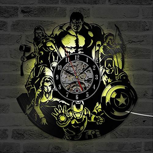 XCJX 7 Colors Personaggio dei Cartoni Animati Forma Orologio in Vinile Orologio Creativo Hollow Marvel Comics Orologio da Parete a LED Iron Man & Captain America & sol Orologio da Parete(12 Inches)