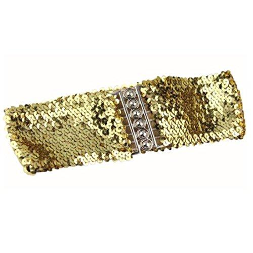 Damen Gürtel FORH Frauen Mode Pailletten Gürtelgurte Vintage Bund Kleid Zubehör manuelle Pailletten Gürtel Boho Gürtel Belt Elastisch stoffgürtel Taillengürtel (Gold)
