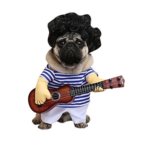 XDYFF Halloween Pet Kostüm EIN Aufrechter Pirat Als Hund, Eine Gitarre Als Witz,B,M